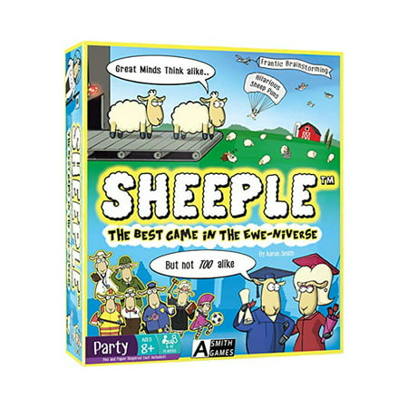 Sheeple The Party Game This is Sheeple The Party Game made by the good people over at A Smith Games.In this game, players are going to need to think alike in order to score points. Every round someone picks a category and all players write down as many items within that category that they can think of. Players only receive points when at least one other player puts down the same answer.Includes1 Game Board,116 Category Cards, 46 Pun Event Cards, 10 Character Game Pieces, 1 Sand timer, 1 Rule sheet.A great casually competitive game!Players:4-10 PlayersRecommended Age: 8+Condition: Brand New and Sealed