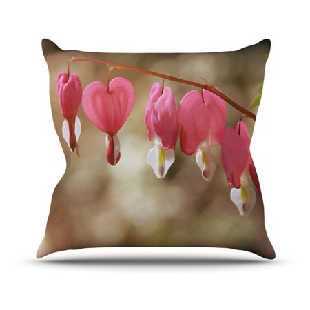 Kess Inhouse Angie Turner Bleeding Hearts Pink Flower Indoor Outdoor Throw Pillow