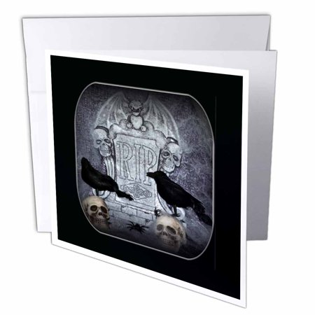 3dRose RIP with Crow Halloween Skull Design, Greeting Cards, 6 x 6 inches, set of 12 (Halloween Skulls Designs)