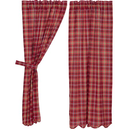 (Apple Red Rustic & Lodge Curtains Braxton Rod Pocket Cotton Tie Back(s) Plaid Panel Pair)