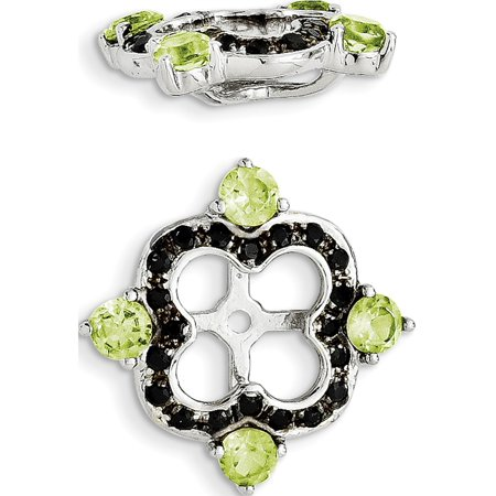 925 Sterling Silver Rhodium Peridot & Black Sapphire Jacket (11x11mm) Earrings - image 2 of 2