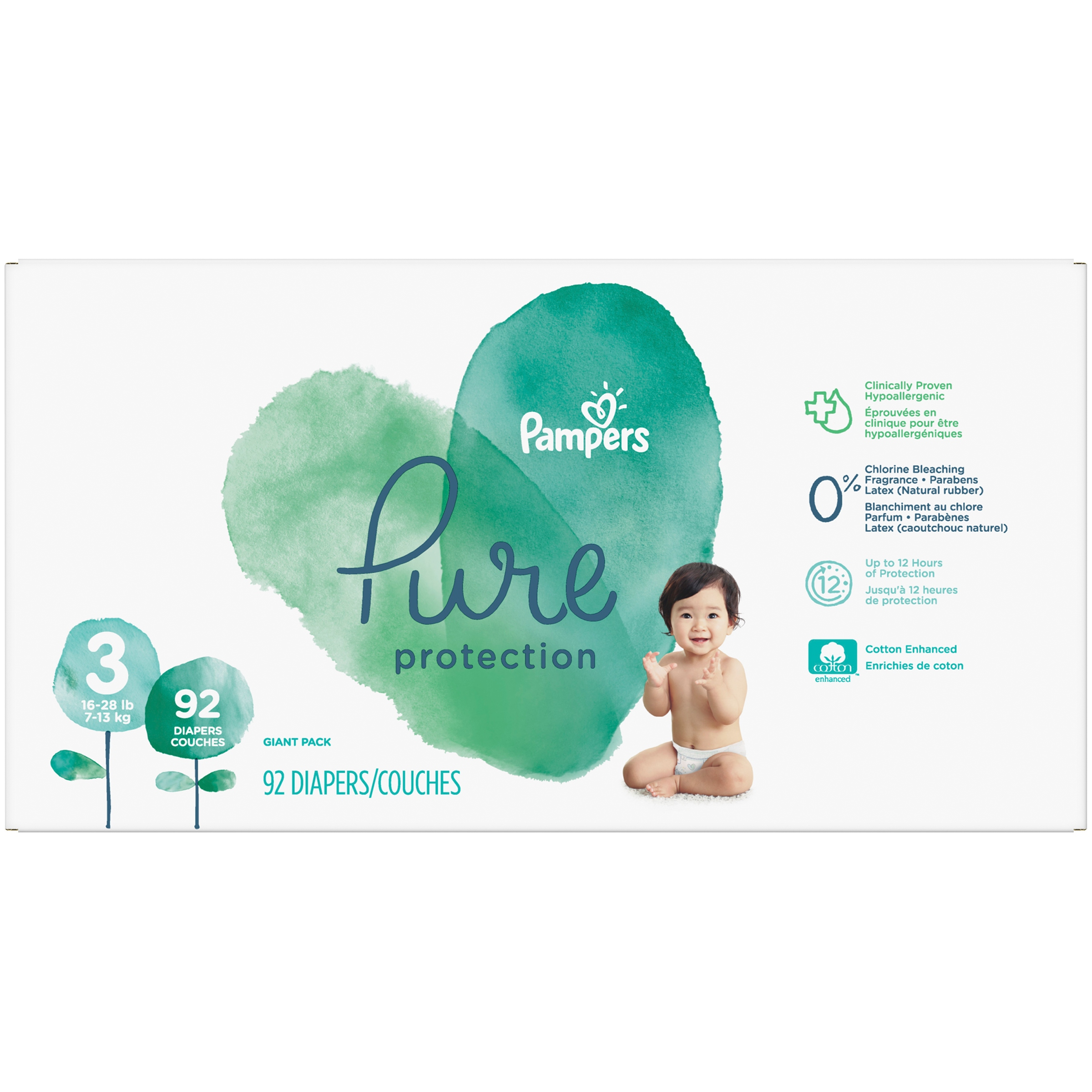 Pampers Pure Protection Disposable Diapers Giant Pack - Size 3 (92ct)