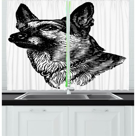 Animal Curtains 2 Panels Set  Pencil Sketchy Image Of Dogs Human Best Friend Guardian Police Animal Artwork  Window Drapes For Living Room Bedroom  55W X 39L Inches  Black And White  By Ambesonne