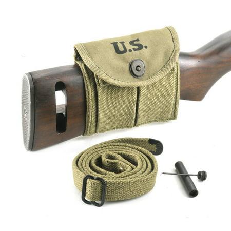 - M1 Carbine Sling, Oiler, & Buttstock Pouch Lt. OD Marked JT&L 1943 …