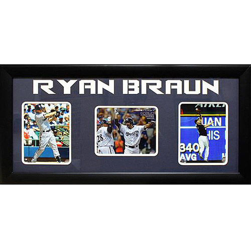 MLB Ryan Braun 3-Photo Frame, 15x35