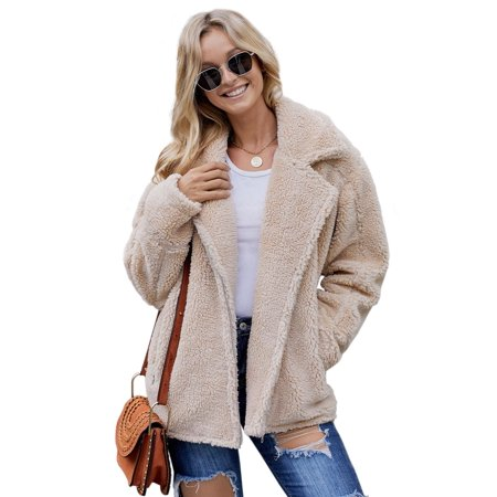 Juniors' Jacket Sherpa Celebrity Beige Breaker Pocketed Activewear Zip Coat (beige, (Junior Badge)