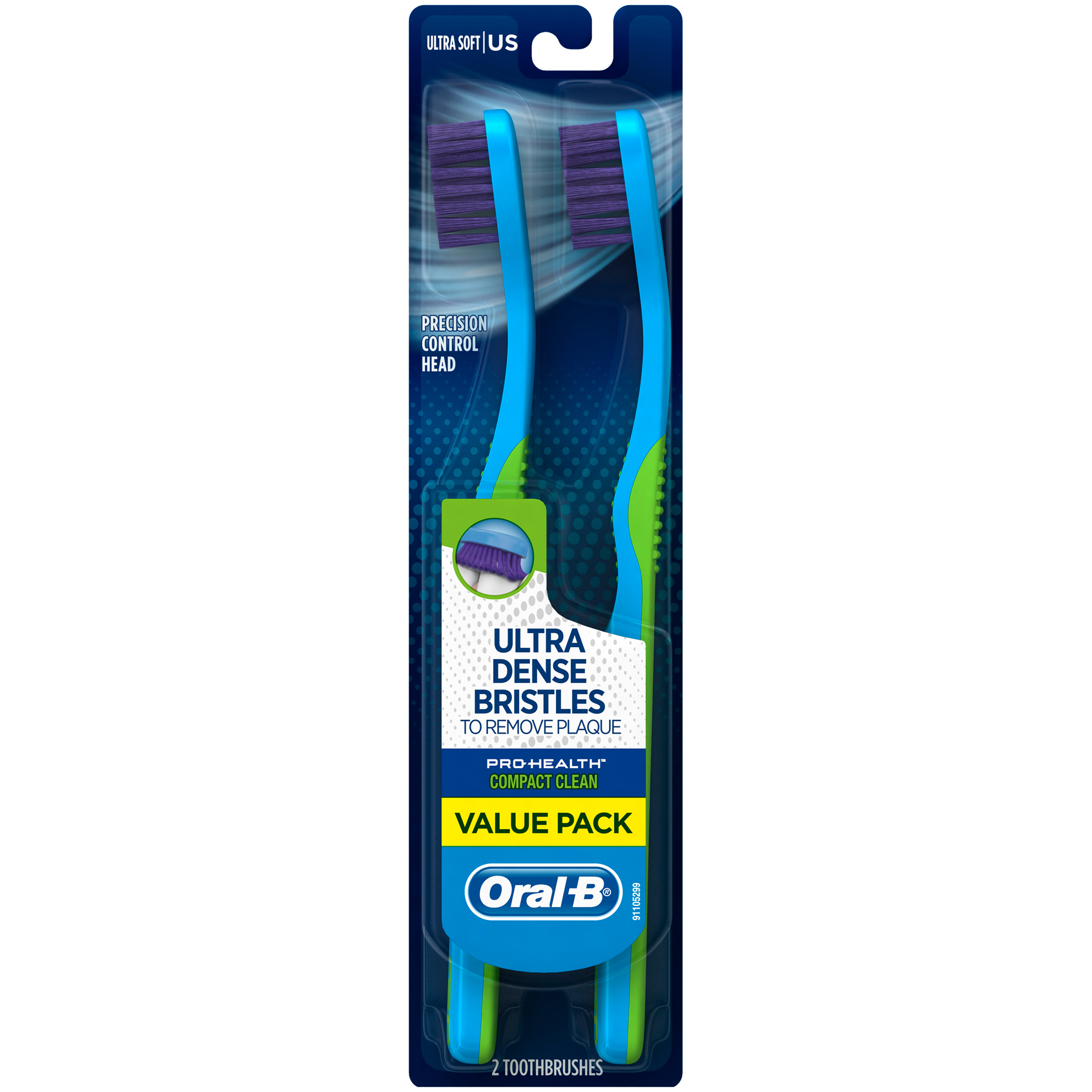 Oral-B Pro-Health Compact Clean Toothbrush, Ultra Soft, 2 count