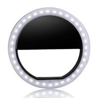 Clip on Selfie Ring Light [Rechargeable Battery] with 36 LED For Smart Phone Camera Round Shape, Black
