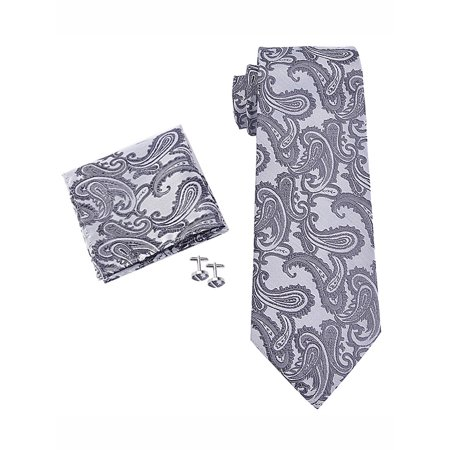 Coxeer Mens Paisley Prom Necktie Hanky Sets for Wedding Graduation Party, Neckties+Pocket Square+Cufflinks, as Gift for Men ()