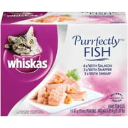 WHISKAS PURRFECTLY Fish Variety Pack Wet Cat Food, Featuring Salmon 3 Ounces (10 Count)