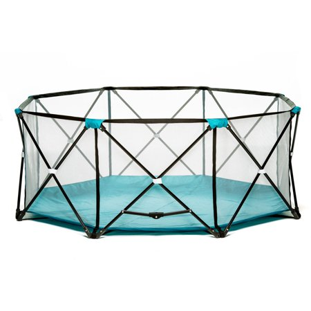 Outdoor Baby Playpen (Regalo My Play Portable Playard Indoor and Outdoor with Carry Case and Adjustable/Washable, Teal, 8-Panel )