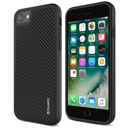 Aduro iPhone 8 / iPhone 7 Case, Carbon Fiber Case with Two Layer Shock Absorption Rubber Grip and Raised Edges, Hard Cover Drop Protection Case for Apple iPhone 8 and iPhone 7 (Carbon Fiber Smart Cover)