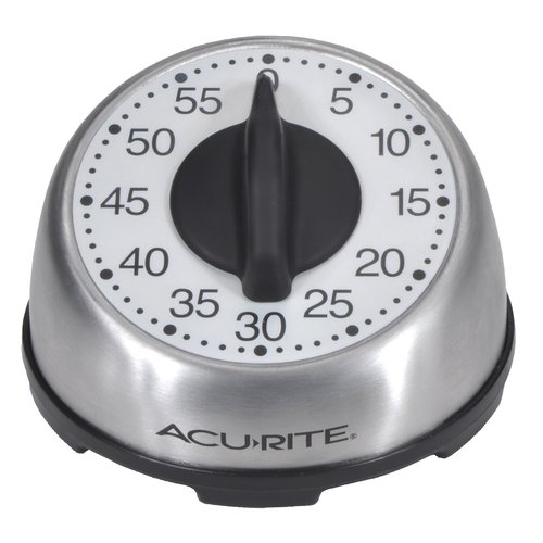 Image of AcuRite Stainless Steel Analog Timer