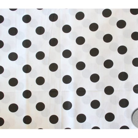 Polycotton Fabric Printed POLKA DOTS BLACK WHITE BACKGROUND / 60