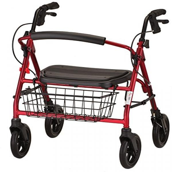 NOVA Medical Products Mini Mack Heavy Duty Rolling Walker, Red