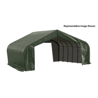 Peak Style Shelter 22x20x13 Steel Frame in Green Cover by