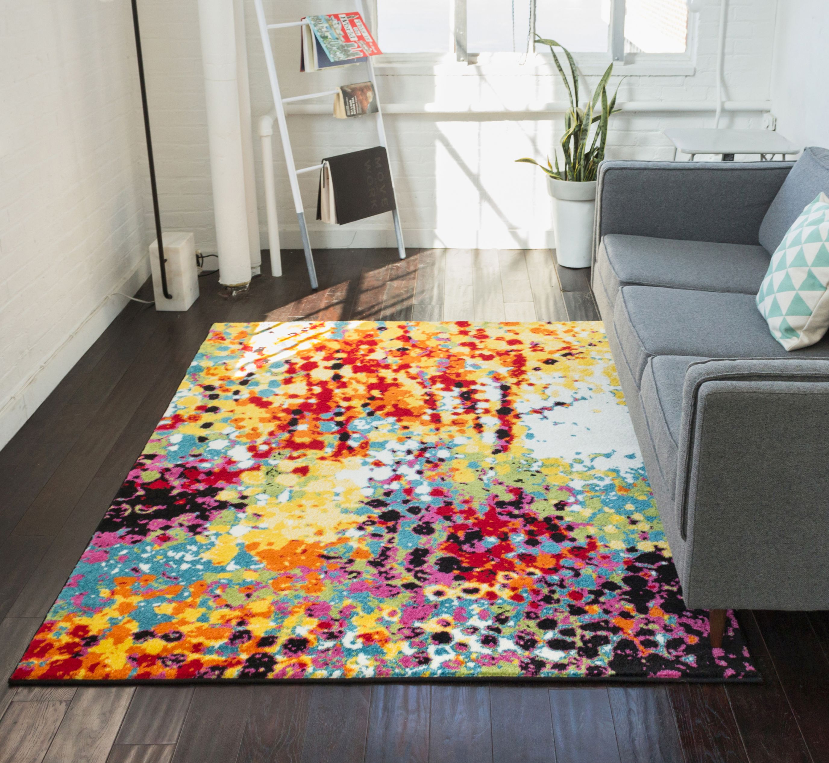 """Impasto Multi Geometric Red Yellow Blue Modern Abstract Painting Area Rug 3x5 (3'3"""" x 5') Brush Stroke Area Rug"""
