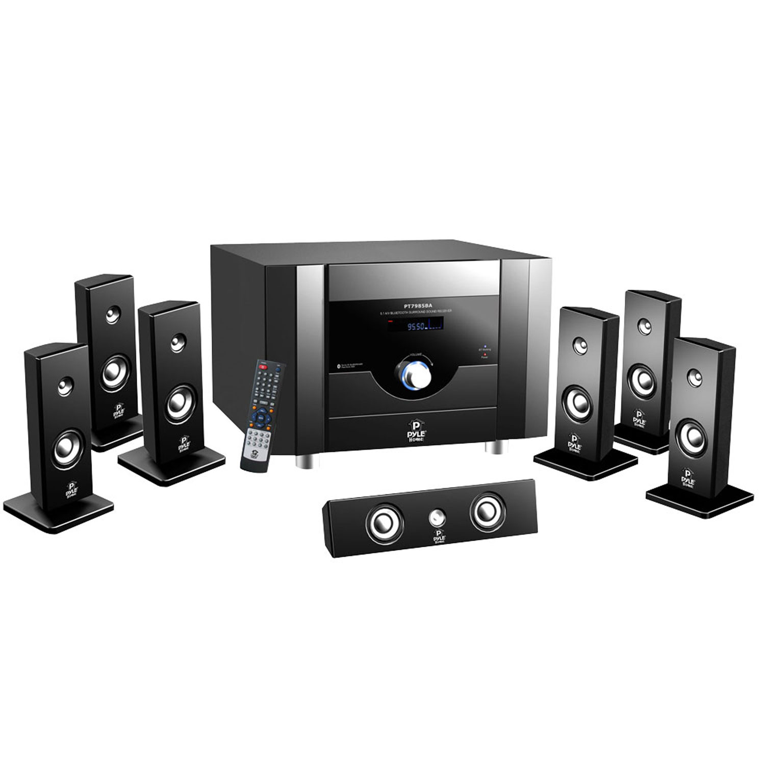 Pyle 7.1 Channel Home Theater System with Satellite Speakers, Center Channel, Subwoofer, BT, FM Tuner