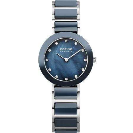 Women's Ceramic 29mm Two Tone Steel Bracelet Case Quartz Blue Dial Analog Watch (Case Two Tone Watch)