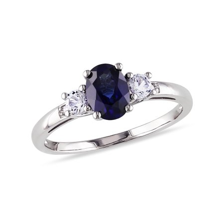 Tangelo 1-3/5 Carat T.G.W. Oval and Round-Cut Created Blue and White Sapphire and Diamond-Accent 10kt White Gold 3-Stone Engagement Ring Oval Shaped Sapphire Ring