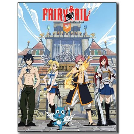 GE Animation GE-57825 Fairy Tail Group and Building Sublimation Throw