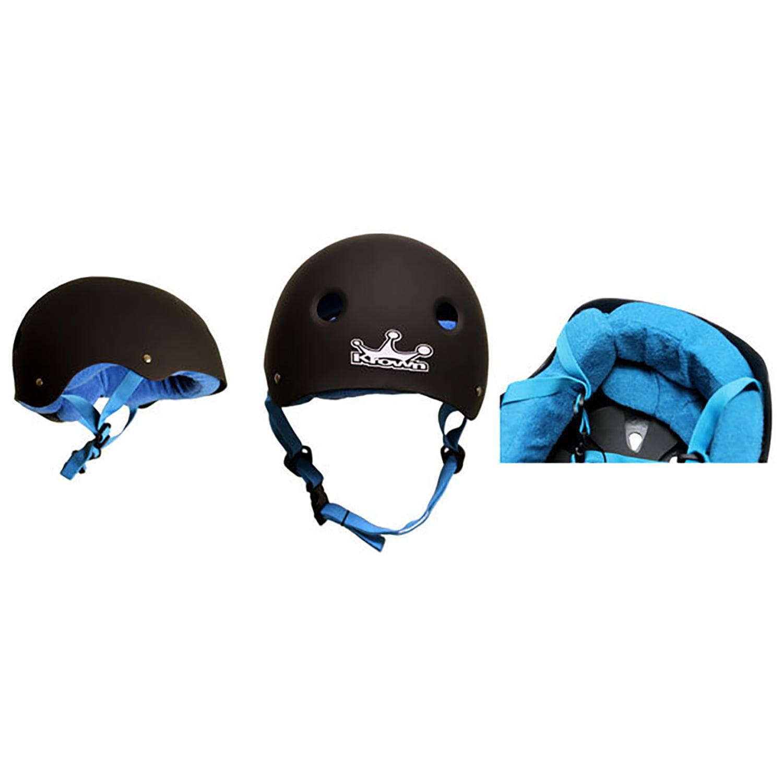 Krown Elite Skateboard Helmet ABS RUBBER + BLUE TOWEL LINER Custom Fit Size LRG