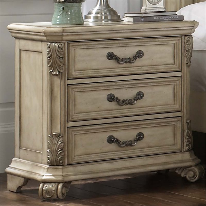 Liberty Furniture Messina Estates II 3 Drawer Nightstand in Ivory