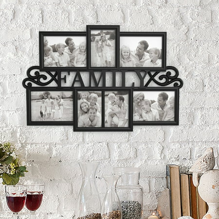 Family Collage Picture Frame with 7 Openings for Three 4x6 and Four 5x7 Photos- Wall Hanging Display for Personalized Decor by Lavish Home (Black) (5x7 Picture Collage)