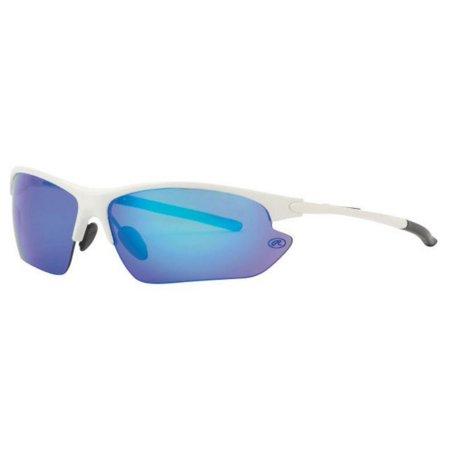 Rawlings Mens Athletic Sunglasses Half-Rim White/Blue Mirrored Lens 10203052.QTS