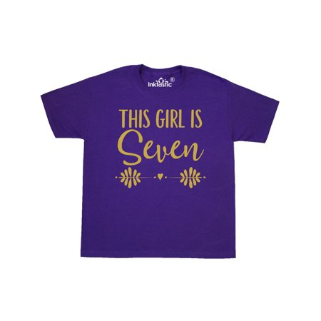 7th Birthday Gold Lettering 7 Year Old Girl Youth T-Shirt for $<!---->
