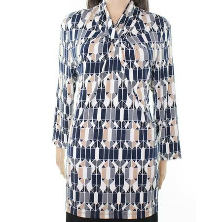 Alfani NEW Blue Beige Womens Size Small S Stretch Geo Printed