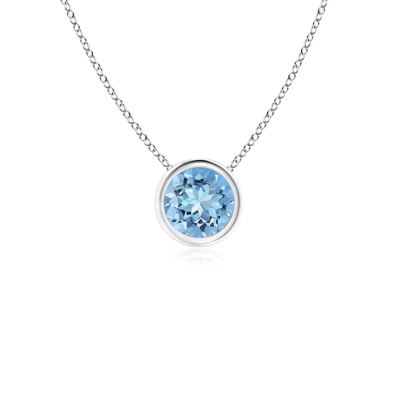 March Birthstone Pendant Necklaces Bezel-Set Round Aquamarine Solitaire Pendant in Silver (5mm Aquamarine)... by Angara.com