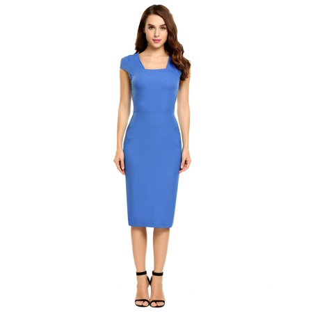 Women Summer Casual Cap Sleeve Solid Square Neck Elegant Pencil Dress HITC ()