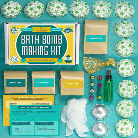 Deluxe Bath Bomb Making Kit with 100% Pure Therapeutic Grade Essential Oils, (Makes 12 DIY Lush Cupcake Mold Bath Bombs), Gift Box and Bath Bomb Mold Included. (Diy Valentine Box)