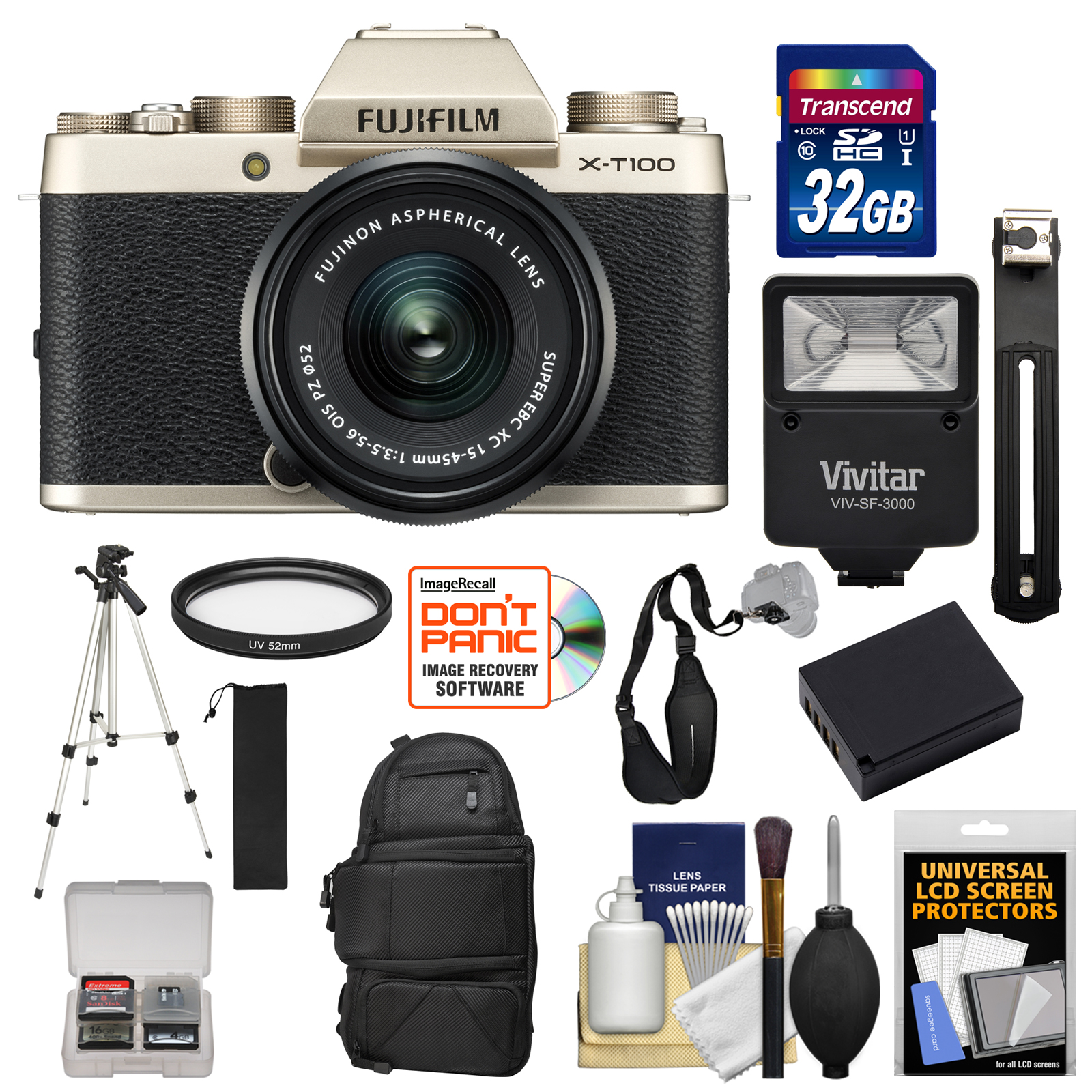 Fujifilm X-T100 Digital Camera & 15-45mm XC OIS PZ Lens (Champagne Gold) with 32GB Card + Backpack + Battery + Tripod + Kit