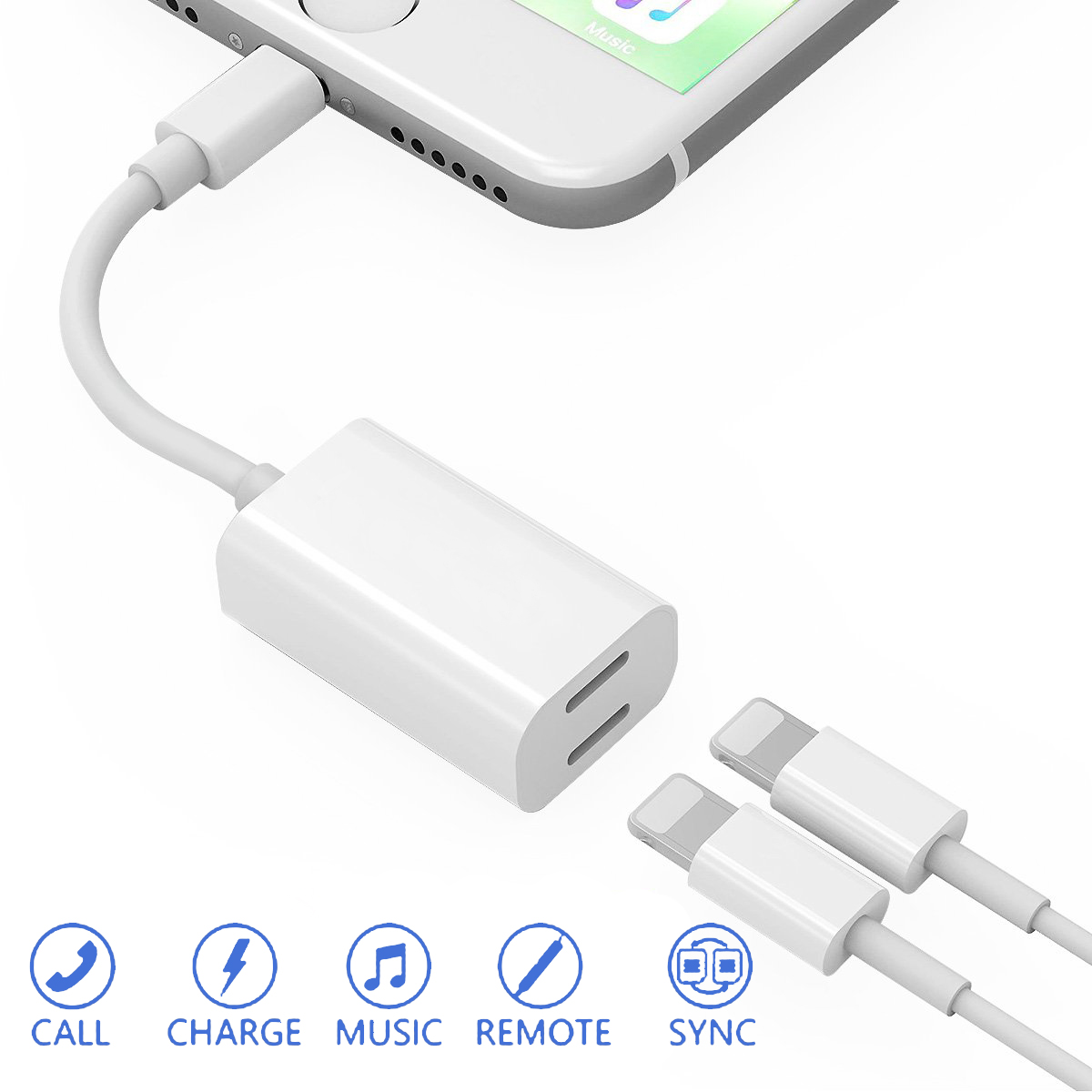 iPhone 7/8/X Headphone AUX Adapter Dual Charger For Apple iPhone7/7 Plus lightning Adapter Audio Music Play 2in1 splitter Converter Earphone Headphone music Play Quick Charging USB cable