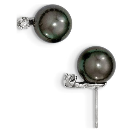 Leslies Fine Designer 14k White Gold 14k White Gold 9-10mm Black Tahitian Cultured Pearl Diamond Post Earrings (Length=15) (Width=9 to 10) ()