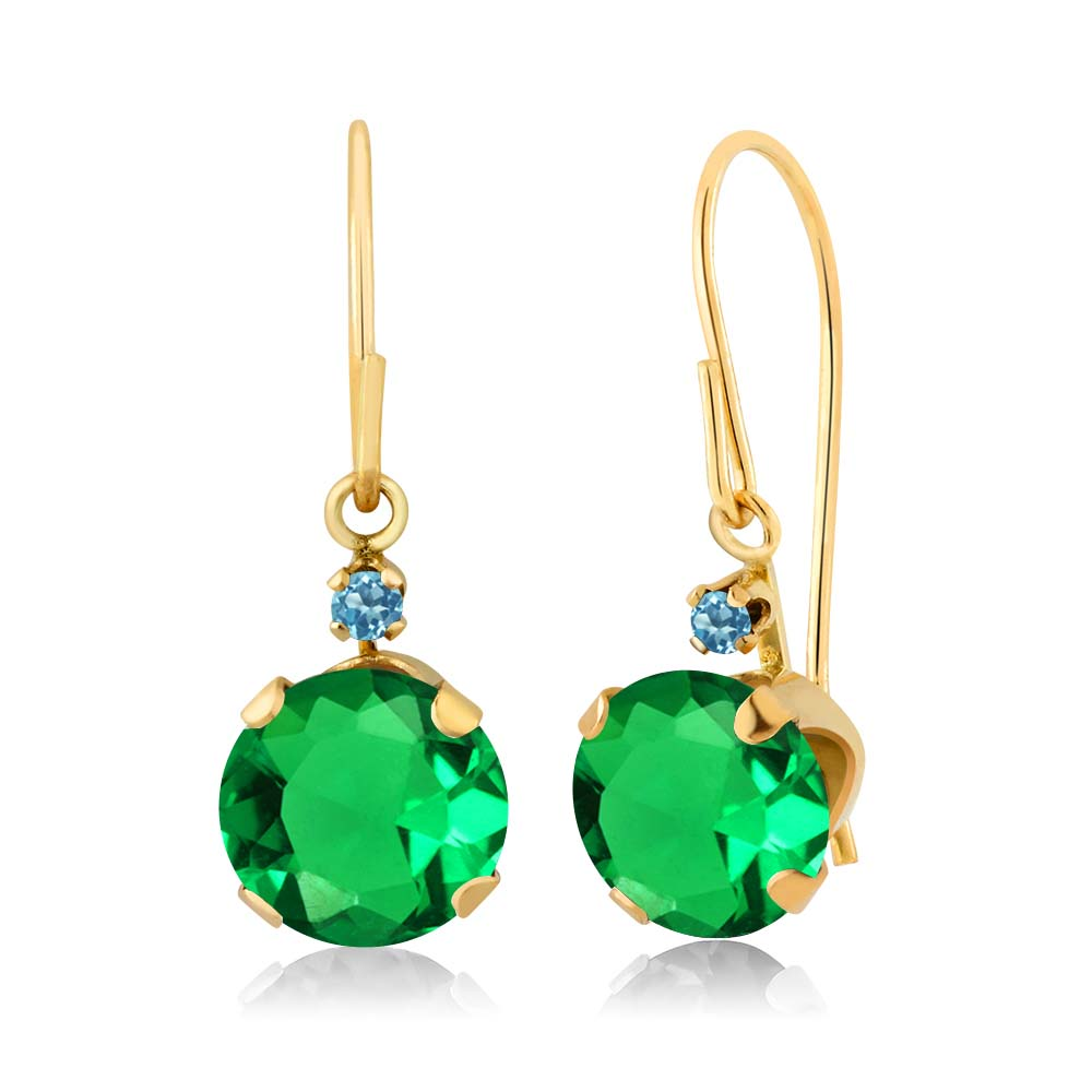 1.58 Ct Simulated Emerald Swiss Blue Simulated Topaz 14K Yellow Gold Earrings