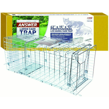 """JT Eaton 495N Answer Single Door Live Animal Cage Trap for Extra Large Size Pests, 42"""" x 15"""" x 17"""""""