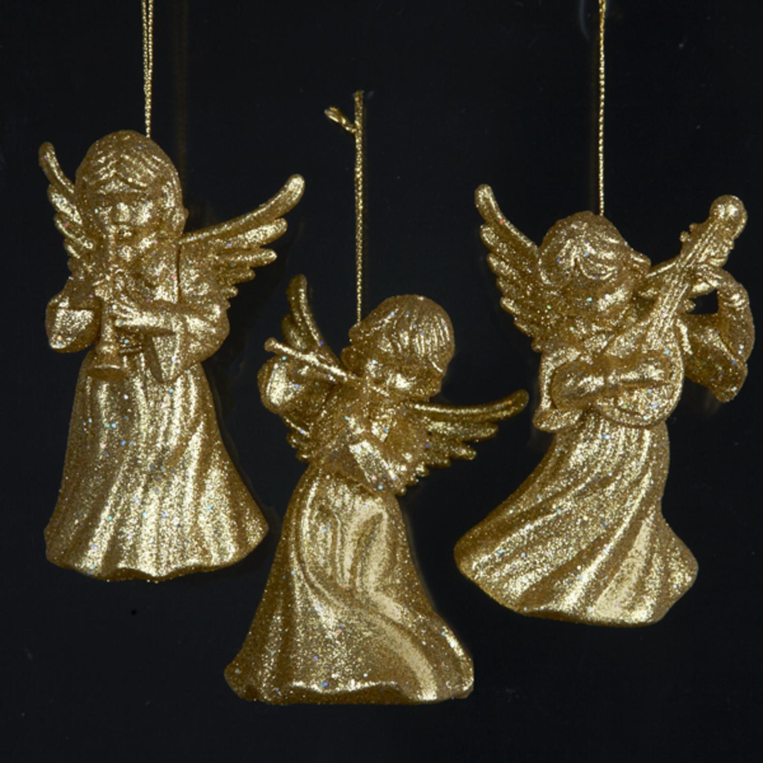 24 Gold Glitter Angel Holding A Musical Instrument Christmas Ornaments 3.75""