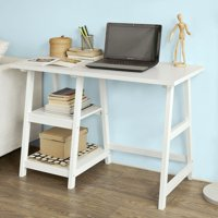 Haotian FWT16-W, White Home Office Table Desk Workstation Computer Desk with 2 Storage Shelves, Trestle Desk,44.09x19.69x  29.92in