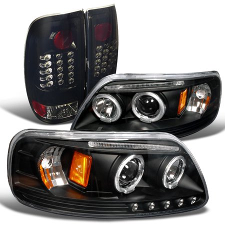 Spec-D Tuning 1997-2003 Ford F150 Black Dual Halo Led Projector Headlights + Glossy Black Tail Brake Lamps (Left + Right) 1997 1998 1999 2000 2001 2002 (Dual Tail)