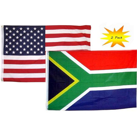 3x5 3'x5' Wholesale Set (2 Pack) USA American & South Africa Country Flag Banner ()