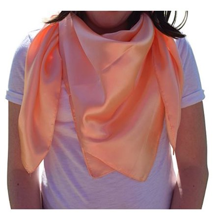Elegant Large Silk Feel Solid Color Satin Square Scarf Wrap 36 by 36 (Peach) …