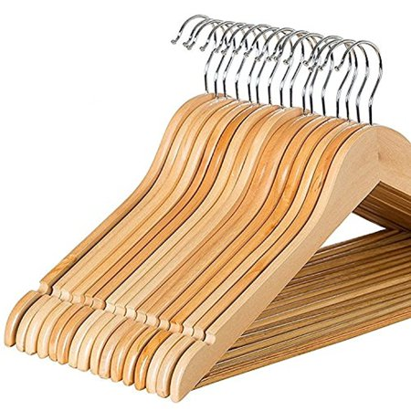Solid Wood Suit Hangers - 30 Pack - with Non Slip Bar and Precisely Cut Notches - 360 Degree Swivel Chrome Hook - Natural Finish Super Sturdy and Durable Wooden Hangers