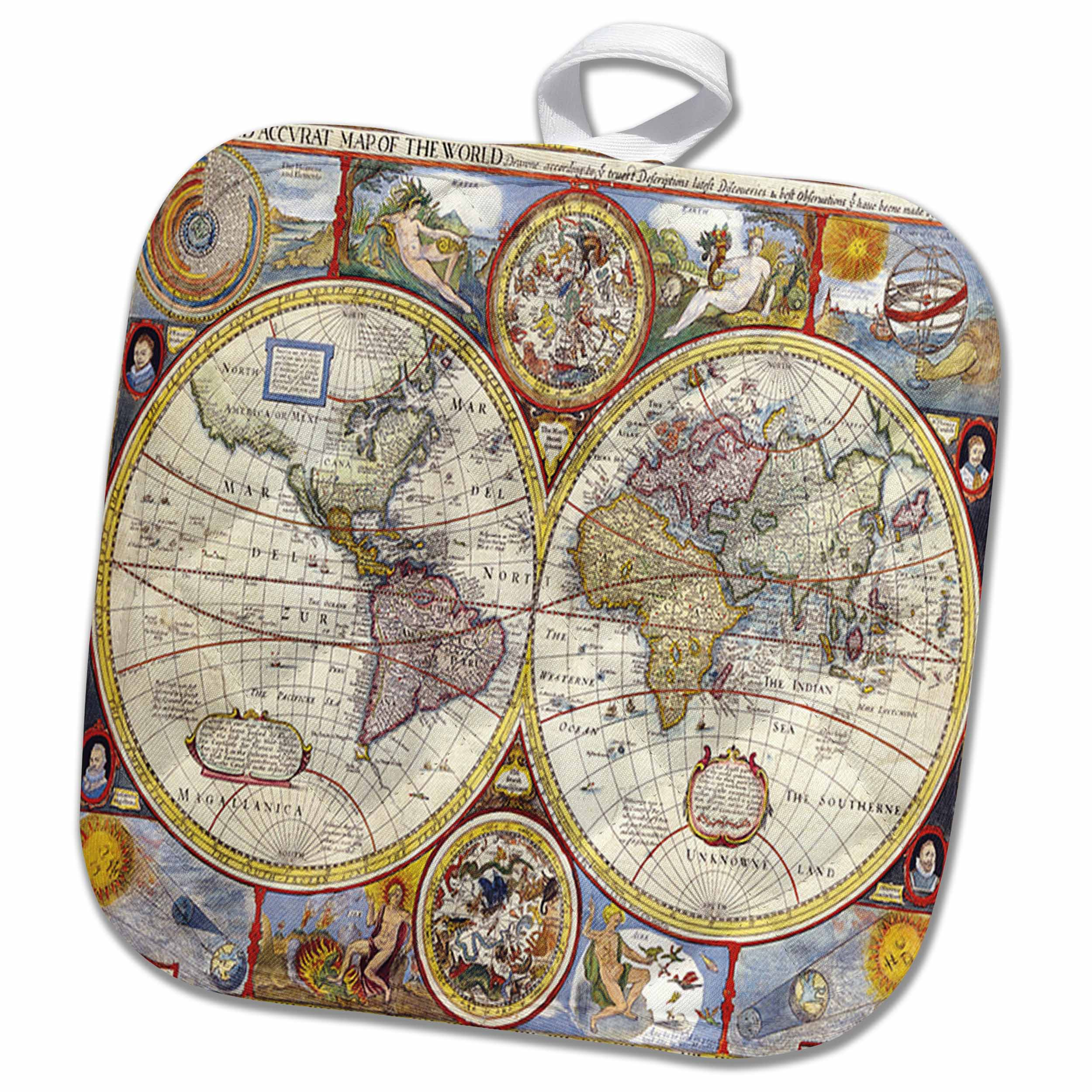A New And Accvrat Map Of The World 1626.3drose Print Of 1626 Map Of The World Pot Holder 8 By 8 Inch