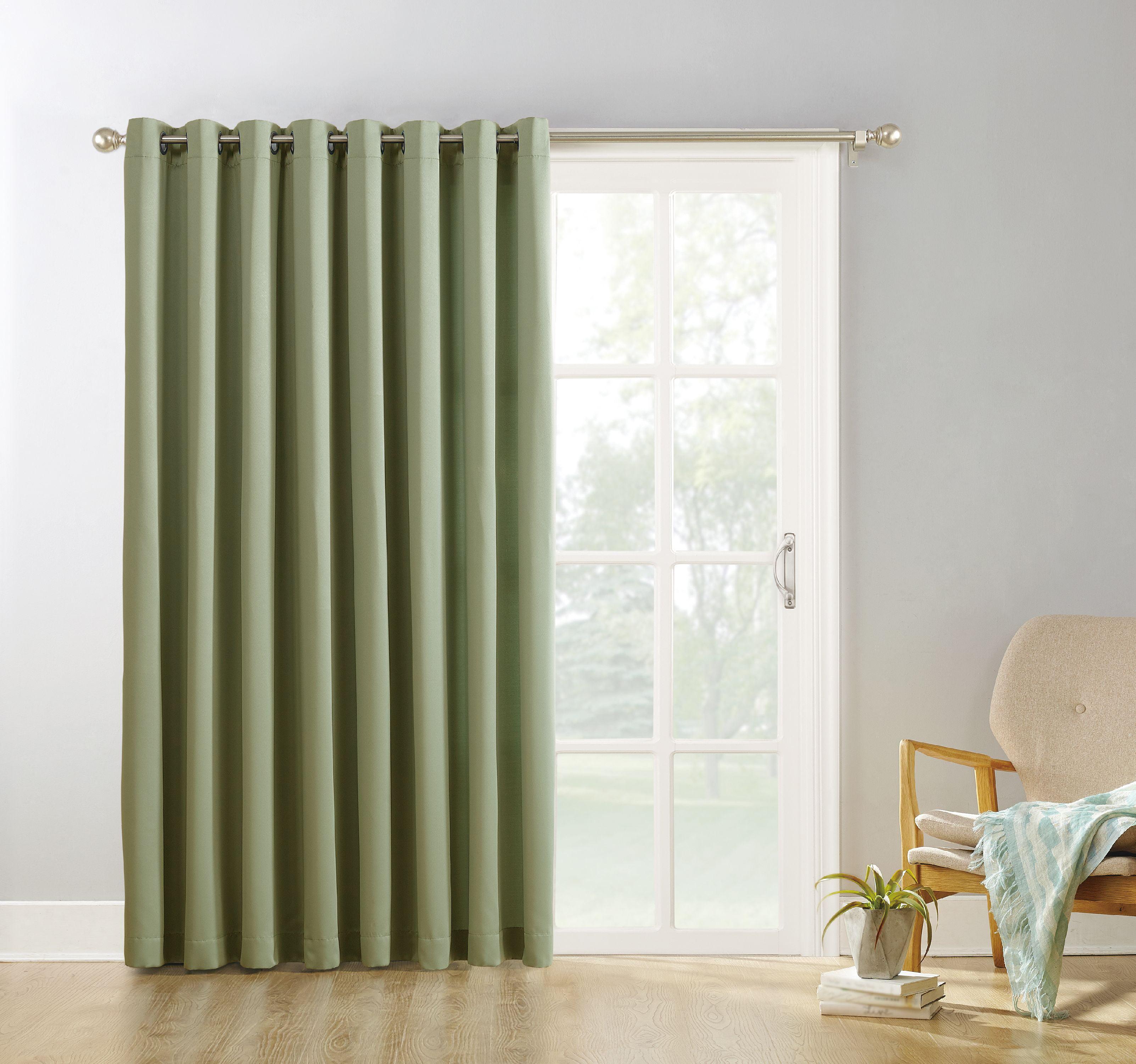 Sun Zero Conrad Extra Wide Blackout Sliding Patio Door Curtain Panel Walmart Com Walmart Com