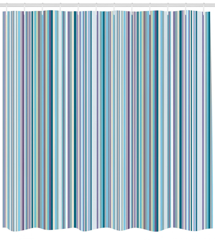 Striped Shower Curtain Blue Purple Teal Aqua Lavender