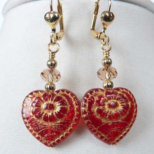 Palmtree Gems Goldtone 'Alejandra' Crystal Heart Earrings