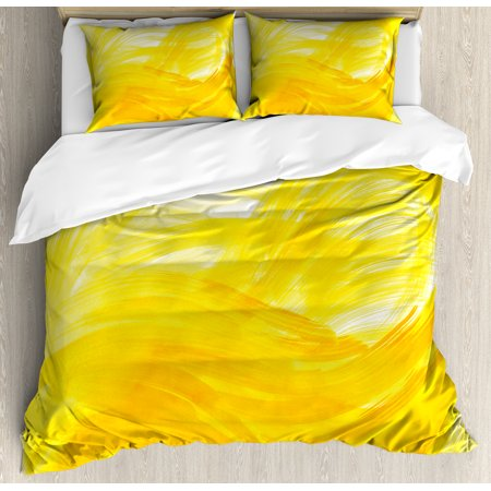 Yellow And White King Size Duvet Cover Set  Painting Style Brushstroke Twist Abstract Artistic Monochrome Wave  Decorative 3 Piece Bedding Set With 2 Pillow Shams  Yellow Marigold  By Ambesonne
